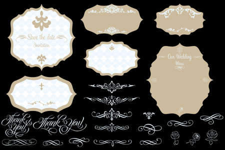 Set of ornate vector frames and design elements  Easy to edit  Perfect for invitations or announcements  Vector