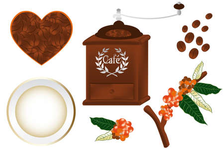 Hand drawn coffee design elements - high detailed - not auto traced