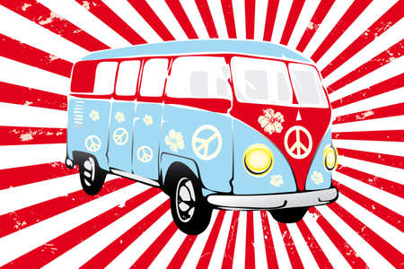 Retro van in red and blue -  hand drawn illustration Vector