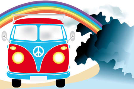 Retro van under the rainbow on the beach - hand drawn illustration