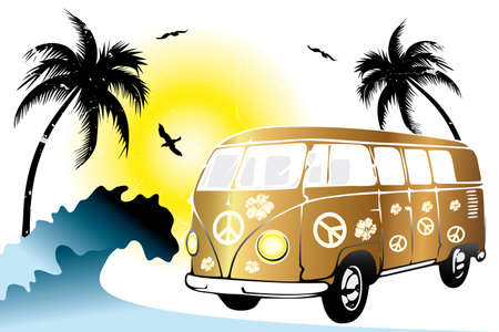 Retro van on the beach - hand drawn illustration Vector