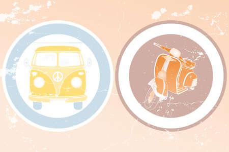 Etiketten met retro busje en retro scooter in vintage design - hand getrokken illustratie