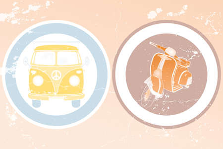 vw: Labels with retro van and retro scooter in vintage design - hand drawn illustration
