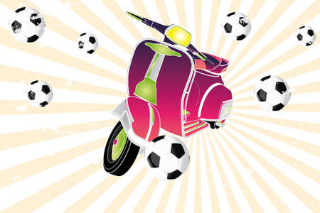 Kleurrijke retro scooter voetballen - hand getrokken illustratie