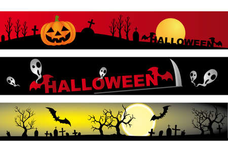 incubus: 3 different designs for halloween - banner with halloween design elements