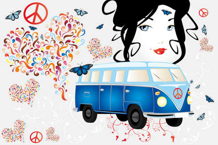 beautiful face of a woman with hearts of abstract swirls, butterflies, floral elements, retro van and sign for peace - hand drawn vector illustration