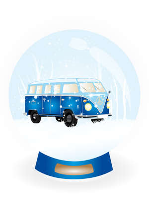 snow globe with hand illustrated bulli retro van in snow landscape Vector