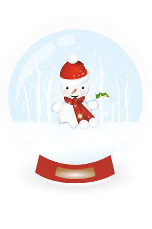 Snow globe with snowman and snow landscape inside Vector