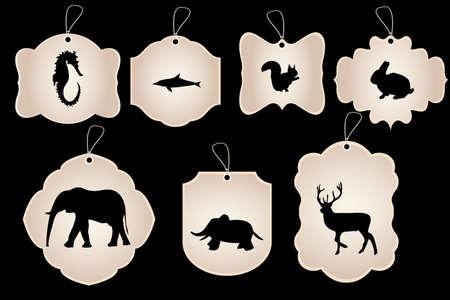 Cru autocollants sous diverses formes avec des silhouettes d'animaux isolés sur fond noir
