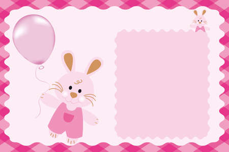 kids weaving: Kids card template Kids card template with pink bunnies and balloons and copy-space