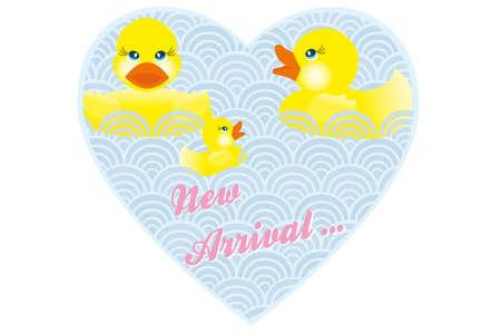 pato de hule: Bebé anuncio de la tarjeta con la familia de patos en la llegada del corazón y palabras nuevas