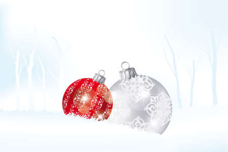 Red and silver Christmas balls in the snow landscape Stock Vector - 15824279