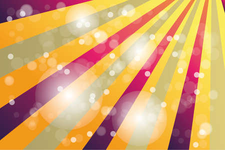 fete: Vintage poster with rainbow color sunbeams and bokeh