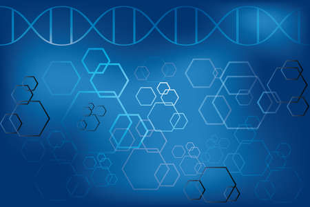 DNA strand and abstract atoms on light blue background - Vector eps 10