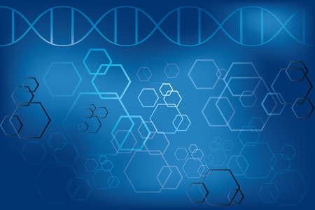DNA-streng en abstracte atomen op lichtblauwe achtergrond - Vector eps 10