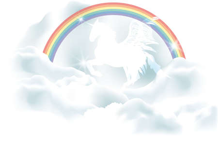 Magical white unicorn in clouds under the rainbow - Vector eps 10