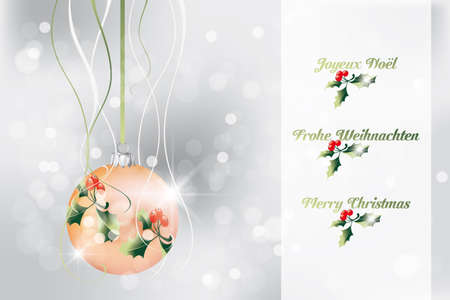 Christmas wishes in French, English and German on neutral background - fully editable eps 10 Vector Stock Vector - 16556436
