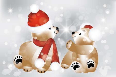 muffs: Lovely Christmas sfondo orsacchiotti - completamente modificabili eps 10 vettori