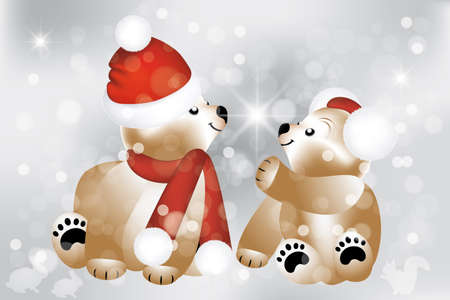Lovely Christmas teddies background - fully editable eps 10 Vectors Illustration