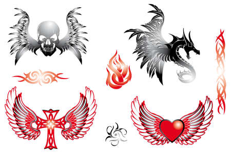Various hand drawn retro tattoo design elements isolated on white Illustration