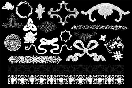 Vintage and celtic design elements isolated on black  Vector