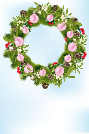 Card-template with decorated Christmas wreath and place for text  illustration Vector