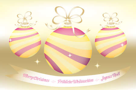 Christmas card with 3 unique colorful Christmas balls on shimmering golden background and spelled wishes in English, French and German Vector