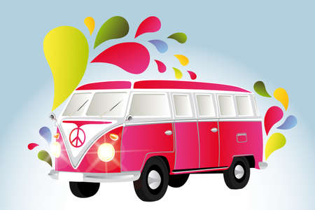 Retro van with colorful splashes  illustration