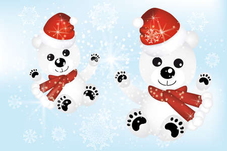 Lovely Christmas card with cute polar bears in snow Vector