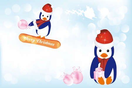 Penguins having fun in the snow Vector