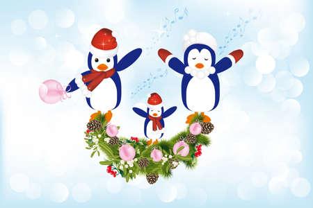 carols: Cute penguins singing christmas carols - detailed illustration with many design elements