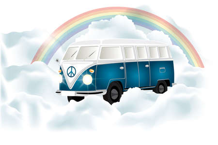 Retro van under the rainbow in cloudy sky