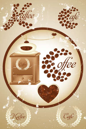 coffee grinder: Retro coffee design with many details and the word &quot,Coffee&quot, spelled in French, German and English Illustration