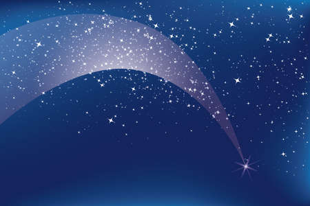 Shooting star with glittering trail on nightly sky with stars Иллюстрация