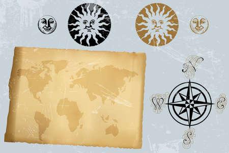 Antieke vintage wereldkaart en windroos en symbolen van de zon en de maan