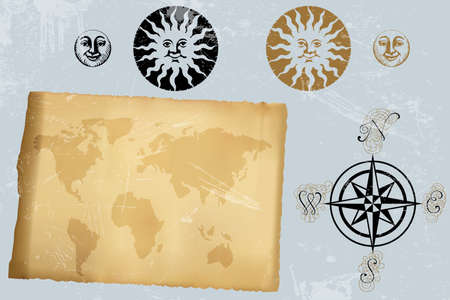 Antique vintage world map and wind rose and symbols of moon and sun Stock Vector - 17513832