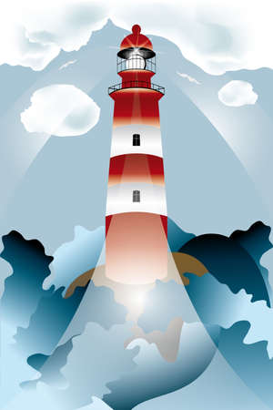 Lighthouse lights on over the unsteady sea under the cloudy sky rimmed by big water waves - high detailed vector illustration Vector
