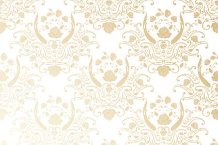 Damask seamless golden floral pattern - Vintage illustration Stock Vector - 17919406