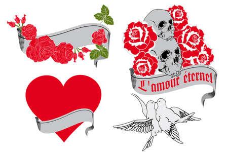 L amour éternel - tattoo design elements Vector