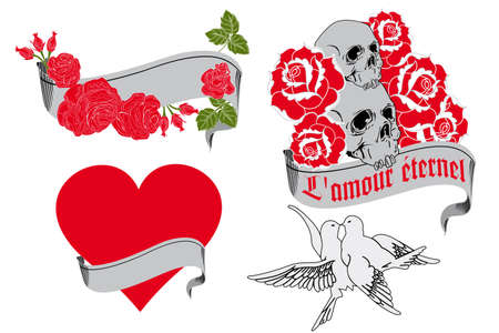 L amour �ternel - tattoo design elements Vector