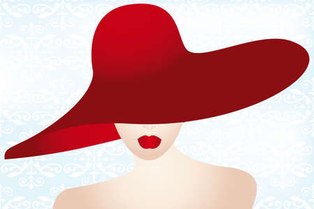 Portrait of the lady with the red hat Vector
