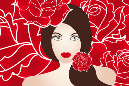 Sensual beautiful woman with bright eyes and voluminous lips on roses - hand drawn illustration Vector