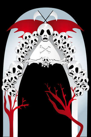 Entrance to the kingdom of death -  illustration with skulls and bones, bat wings, sickles and trees of blood