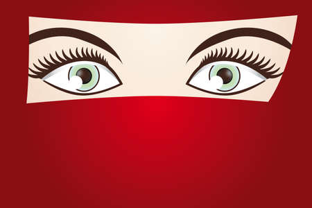 veiled: 1001 NIGHTS cover with copy space -  illustration with beautiful eyes of the bedouin woman