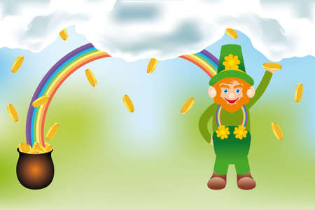 irish landscape: The gold of the Leprechaun - detailed  illustration with rainbow, cnome gold coins, pot of gold and rainbow in a irish landscape under cloudy sky