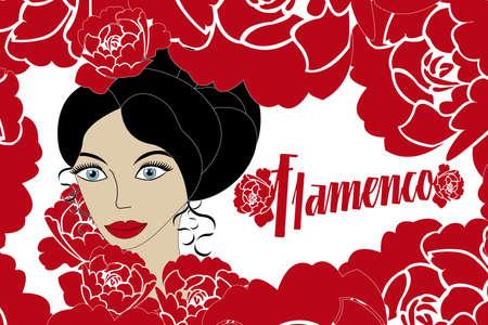 spanish fan: Vintage poster Flamenco  Illustration
