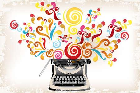 Creativiteit - schrijfmachine met abstracte wervelingen en grunge