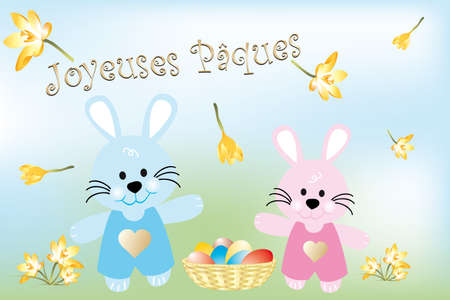 green day baby blue background: Little Easter bunnies and Easter eggs in basket with French text  Joueuses Paques  means  Happy Easter