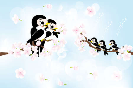 Spring greetings with swallow Family, singing in tree with cherry-blossoms Stock Vector - 18552402