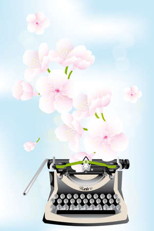 Spring creativity - typewriter with cherry blossoms on blue sky - eps10 vector illustration
